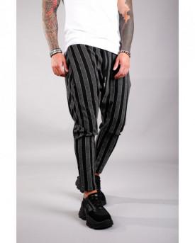 Pantaloni Casual Barbati Cu Snur Negri Stil Jogger din Bumbac 100% M1034