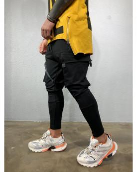 Pantaloni de Trening Barbati Slim Fit Negri Cu Buzunare Aplicate M1975