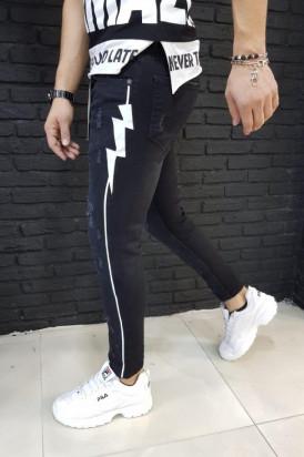 Blugi Barbati Slim Fit Rupti Superficial Cu Desen