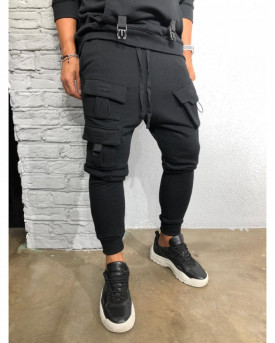Pantaloni de Trening Barbati Slim Fit Negri Cu Buzunare Aplicate Snur si Tur M1014
