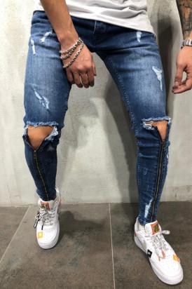 Blugi Barbati Slim Fit Albastri Rupti In Genunchi Cu Fermoare Editie Limitata M4195