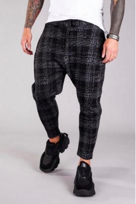 Pantaloni Casual Barbati Negri Stil Jogger in Carouri din Bumbac 100% M2075