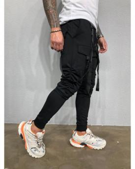 Pantaloni Cargo Barbati Slim Fit Cu Buzunare Aplicate Si Bretele