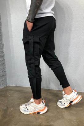 Pantaloni Cargo Barbati Slim Fit Cu Buzunare Laterale Si Semitur