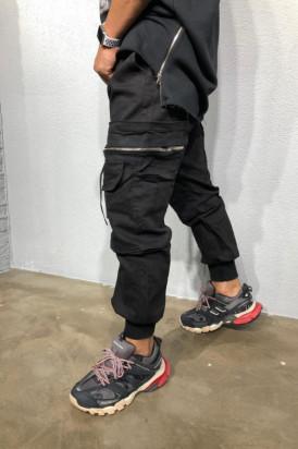 Pantaloni Cargo Barbati Negri Cu Buzunare Aplicate Si Snur M3383