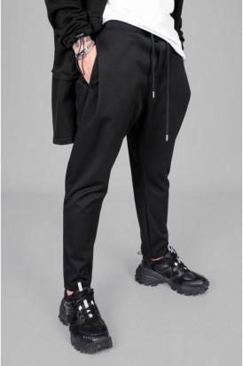Pantaloni Casual Barbati Cu Snur Negri Stil Jogger din Bumbac 100% M1063
