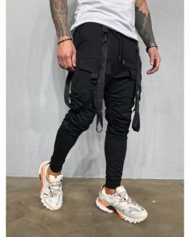 Pantaloni de Trening Barbati Slim Fit Negri Cu Buzunare Aplicate Si Bretele M1001