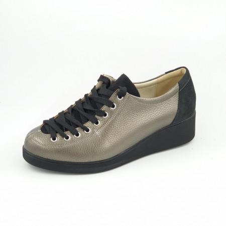 Pantofi dama, SandAli, piele naturală bizon, combinate, bronz