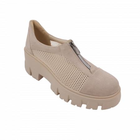 Pantofi dama, SandAli, piele naturala, plasa, fermoar, talpa usoara, crampoane mari, bej