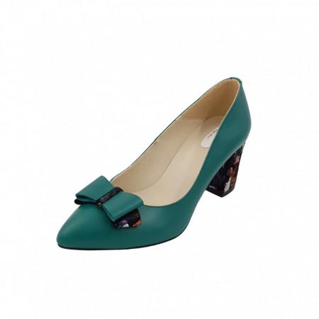 Pantofi dama, SandAli, stiletto, piele naturala, toc gros imbracat, funda, verde cu patratele colorate