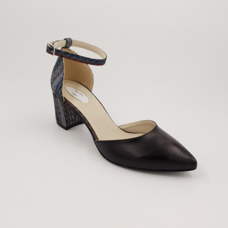 Pantofi sanda dama, piele naturala, toc gros, imbracat, negru cu linii colorate