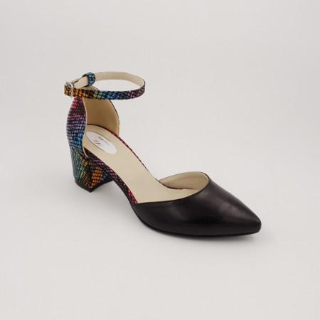 Pantofi sanda dama, piele naturala, toc gros, imbracat, negru cu sarpe colorat
