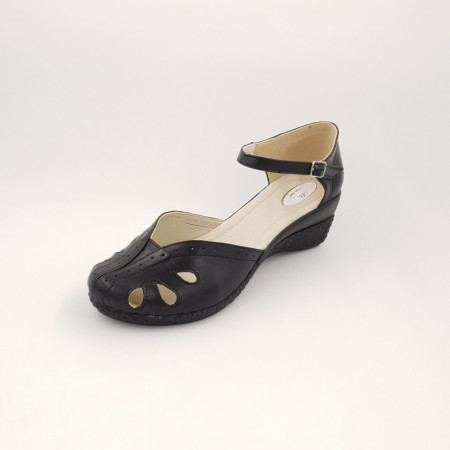 Sandale dama, talpa ortopedica, piele naturala negru
