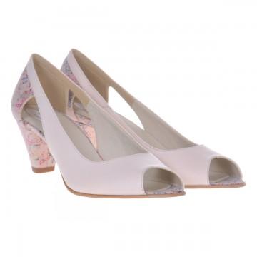 Pantofi sanda dama, piele naturala, varf decupat, toc gros imbracat cu imprimeu, Vivien