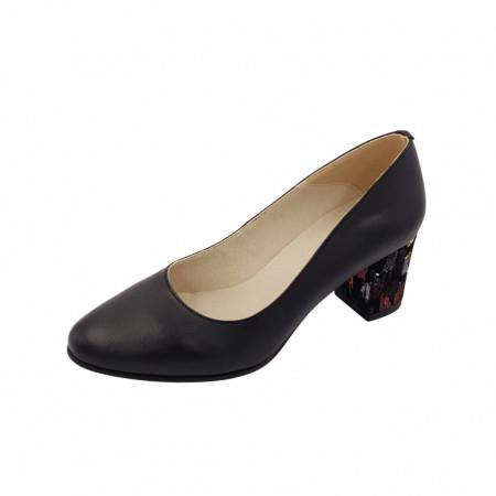 Pantofi dama, SandAli, piele naturala, toc gros imbracat, negru cu patratele colorate