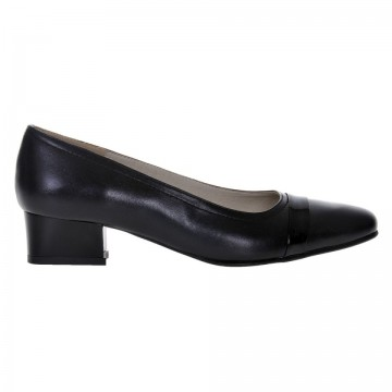 Pantofi dama, piele naturala, toc gros, negru