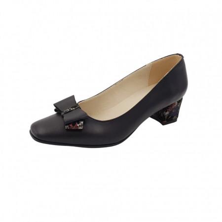 Pantofi dama, SandAli, varf patrat, piele naturala, toc gros imbracat, funda, negru cu flori