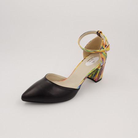 Pantofi sanda dama, piele naturala, toc gros, imbracat, negru cu picturi colorate