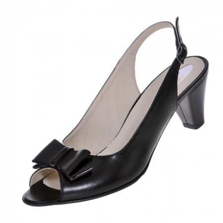 Sandale dama, SandAli, piele naturala, toc gros, negru, Daniela