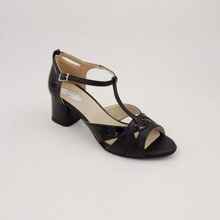 Sandale dama, varf decupat, piele naturala, toc gros, negru lacuit box