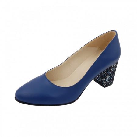 Pantofi dama, SandAli, piele naturala, toc gros imbracat, albastru cu flori albastre