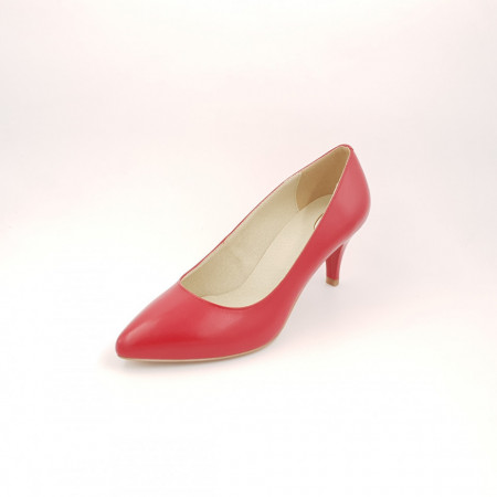 Pantofi dama, SandAli, stiletto, piele naturala, toc cui, rosu