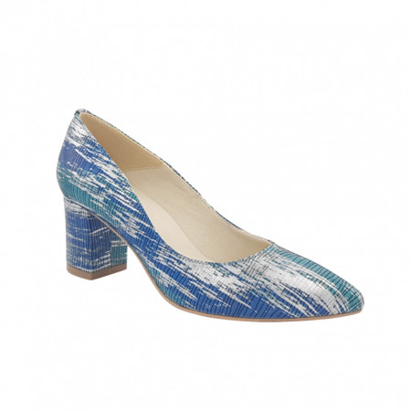 Pantofi dama, SandAli, stiletto, piele naturala, toc gros, turcoaz, argint, albastru
