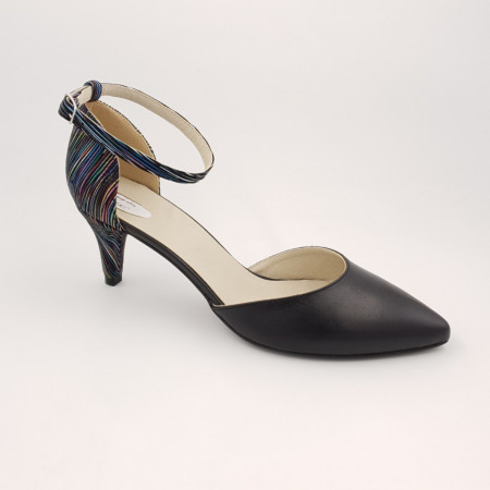 Pantofi sanda dama, piele naturala, toc cui, imbracat, negru cu dungi colorate