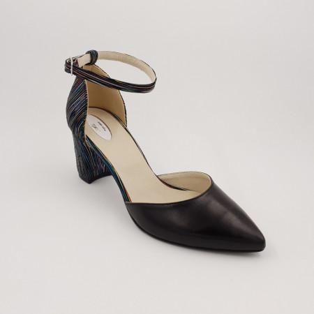 Pantofi sanda dama, piele naturala, toc gros, imbracat, negru cu dungi colorate