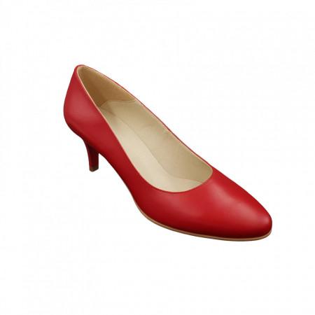 Pantofi dama, SandAli, piele naturala, toc cui, rosu