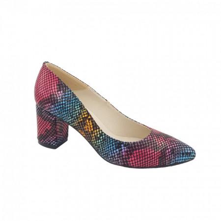 Pantofi dama, SandAli, stiletto, piele naturala, toc gros, sarpe colorat