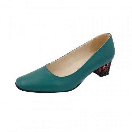 Pantofi dama, SandAli, varf patrat, piele naturala, toc gros imbracat, verde cu patratele colorate