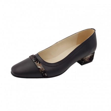 Pantofi dama, SandAli, varf patrat, piele naturala, toc mic gros imbracat, bareta, negru cu flori