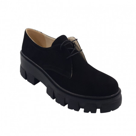 Pantofi oxford dama, SandAli, piele naturala velur, talpa cu crampoane, negru