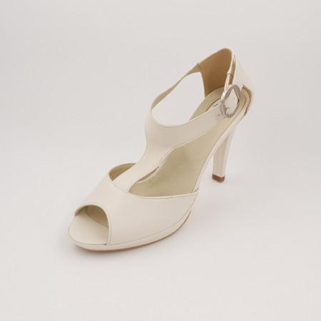 Sandale dama cu platforma piele naturala, bej alb, toc cui