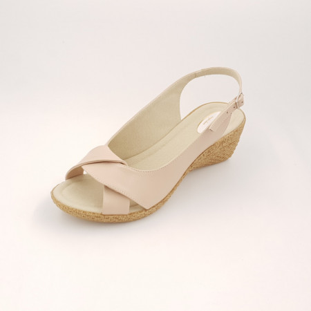 Sandale dama, talpa ortopedica, piele naturala bej roz