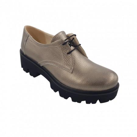 Pantofi oxford dama, SandAli, piele naturala bizon, talpa usoara, crampoane mari, bronz