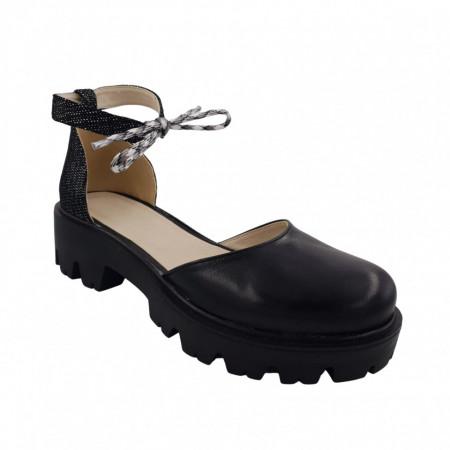 Pantofi sanda dama, SandAli, piele naturala, barete cu sireturi colorate, talpa usoara, crampoane, imprimeu cu puncte albe, negru