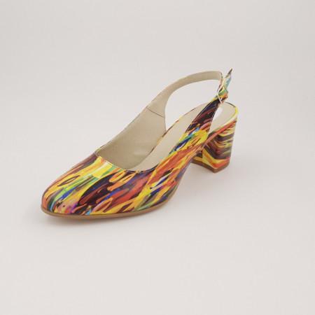 Sandale dama, piele naturala, toc gros, imbracat, picturi colorate