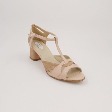 Sandale dama, varf decupat, piele naturala, toc gros, bej cu puncte