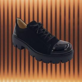 Pantofi dama, SandAli, piele naturala velur, cu siret, talpa usoara, crampoane, lacuit, negru