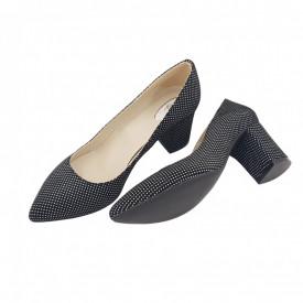 Pantofi dama, SandAli, stiletto, piele naturala, toc gros, negru cu buline albe