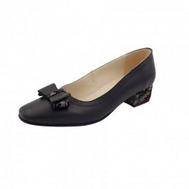 Pantofi dama, SandAli, varf patrat, piele naturala, toc mic gros imbracat, funda, negru f.