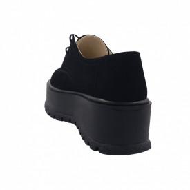 Pantofi oxford dama, SandAli, piele naturala velur, talpa inalta, negru