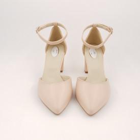 Pantofi sanda dama, piele naturala, toc gros, imbracat, bej cu linii aurii