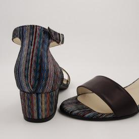Sandale dama, piele naturala, toc mic gros, negru cu linii colorate