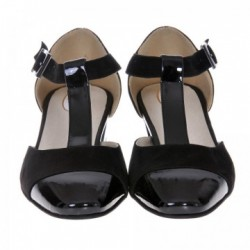 Sandale dama, SandAli, piele naturala intoarsa, piele lacuit, toc gros, negru
