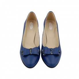 Pantofi dama, SandAli, piele naturala, toc gros imbracat, funda, albastru cu flori albastre