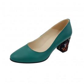 Pantofi dama, SandAli, piele naturala, toc gros imbracat, verde cu patratele colorate