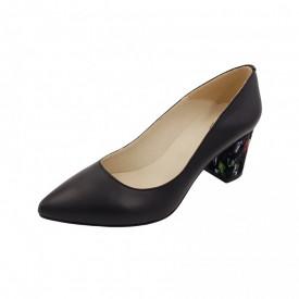Pantofi dama, SandAli, stiletto, piele naturala, toc gros imbracat, negru cu patratele colorate